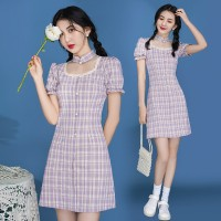 改良版少女格子旗袍年轻款文艺蚀骨法式连衣裙俏皮可爱甜美裙