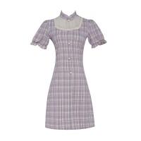实拍 法式气质优雅赫本风方领收腰显瘦泡泡袖中长款连衣裙 现货