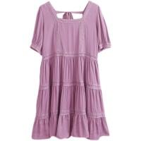 2021夏款实拍小视频韩版女装纯色花边拼接镂空紫色白色短袖连衣裙